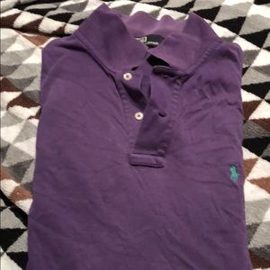 Worn, vintage, purple polo with teal logo